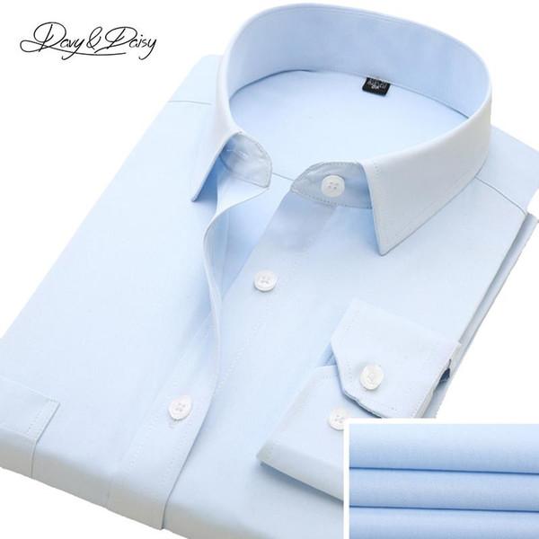 DAVYDAISY Spring Men Shirt Turn Down Collar Long Sleeve Plaid Striped Print Brand Clothing Dress Shirt Man DS002