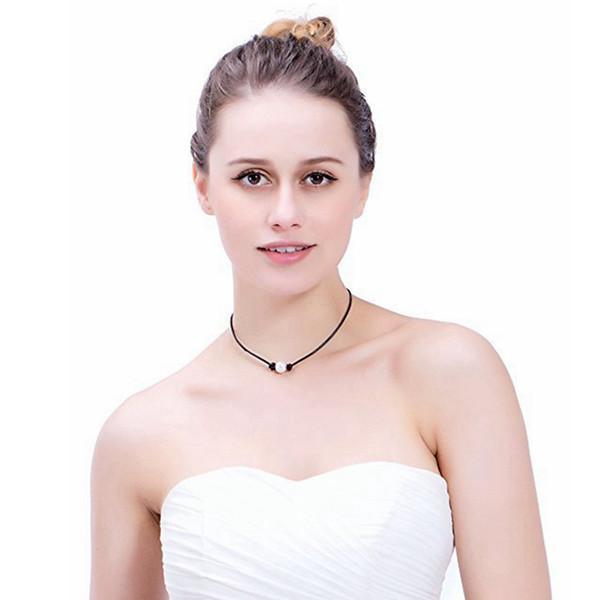 Collar de perlas Gargantilla Cuerda de cuero PU Collar Collar Natural Boho Gargantillas Collares Mujeres Summer Beach Party Jewelry LJJA2600