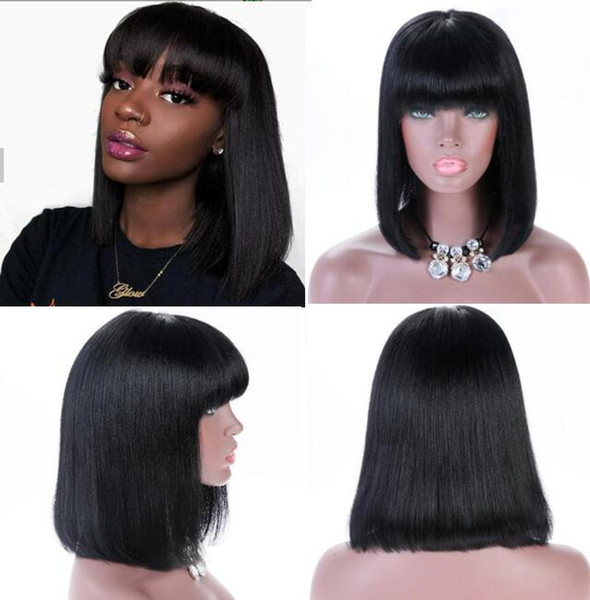 Celebrity Wig Lace Front Wig with Bang Long Bob Cut 10A Brazilian Human Hair Full Lace Wigs for Black Women Fast Free Shipping