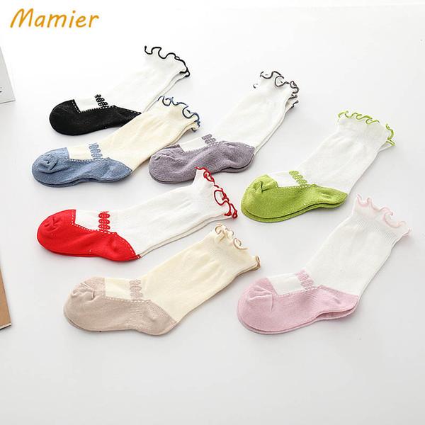 Kızlar Çorap Dantel Bebek Çorap dans Kızlar Örgü Diz Yüksek Çorap kız bebek giysileri yürümeye başlayan kız tasarımcı kıyafetleri A8437