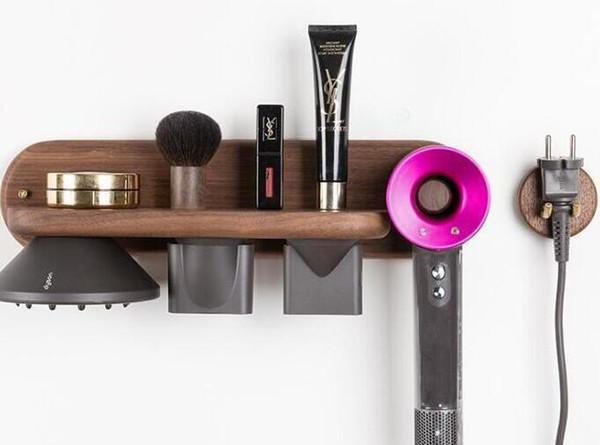 Novo estilo Dawson secador de cabelo suporte de madeira maciça não perfurado banheiro rack de estantes rack de armazenamento secador de cabelo Dawson no transporte livre venda