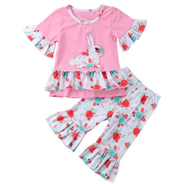 Mode kleinkind kinder baby mädchen outfits kleidung kurzarm kaninchen t-shirt top dress + rüschen floral flare hosen 2 stück