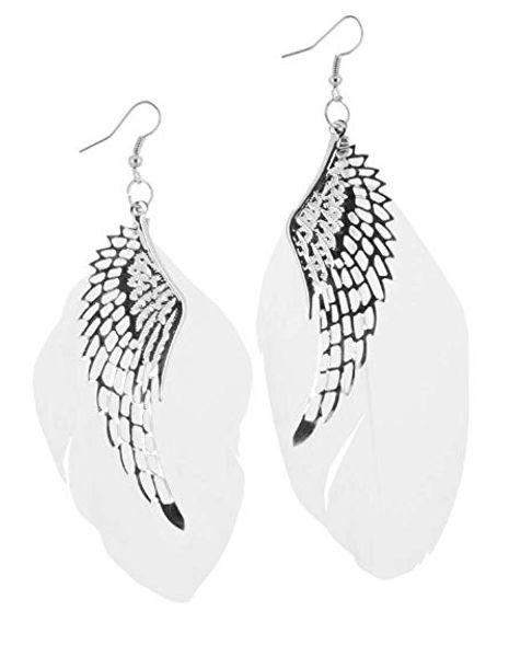 6 Colors Vintage Angel Wings Feather Earrings Alloy Handmade Bohemian Long Drop Earrings Light Dangle Eardrop Women Lady Jewelry Gift M401F