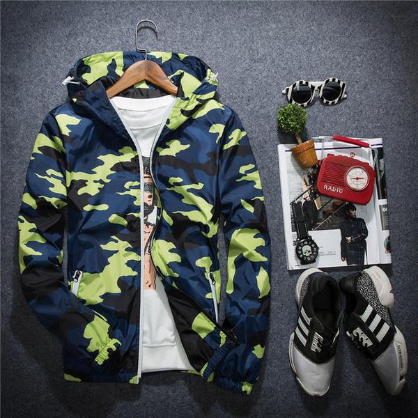 New Jacket Casual Windbreaker Long Sleeve Mens Jackets Fashion Zipper Pocket Mens Hoodie Coat Camouflage Jackets Plus Size M-5XL