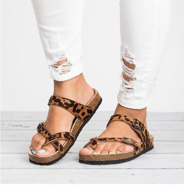 2019 kadın Terlik Yaz Plaj Rahat Ayakkabılar Retro Leopar Baskı Düz slaytlar Kalın Soled Mantar Terlik Moda Çevirme Sıcak