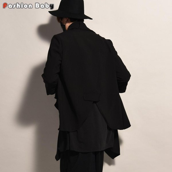 Wholesale- Gothic Mens Long Trench Coat Faux Two Pieces Fashion Costume Cardigan Coats Nice Autumn New
