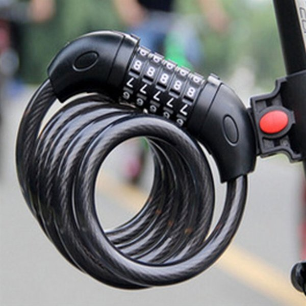 Anti-Theft Bike Lock Strong Bicycle Locks Cycle Spiral Cable Security Steel Coil