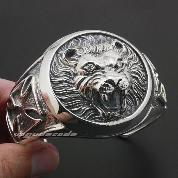 LINSION Huge Heavy Lion Knight King Cross 925 Sterling Silver Mens Bracelet Bangle 9A003