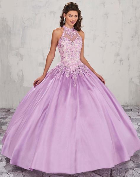 Лаванда Холтер бальное платье атласные платья Quinceanera 2020 кружева аппликация без рукавов сладкие 16 платья выпускного вечера выпускные платья