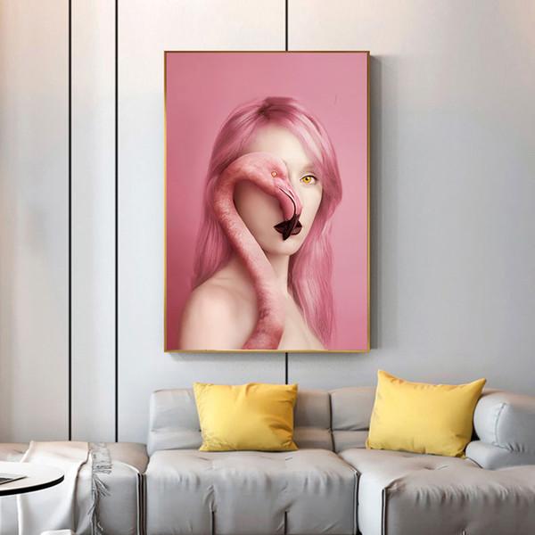 Canvas Pittura Ritratto Poster nordici e Stampe nude sexy della donna e Immagini Flamingo parete per Soggiorno Cuadros Home Decor