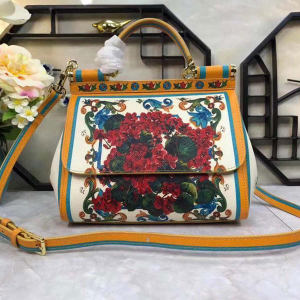 2018 neue europäische und amerikanische Mode Pflanze blühen farbige Blumen drucken farbige Druck Baitie Schulter Kreuzung Handtasche
