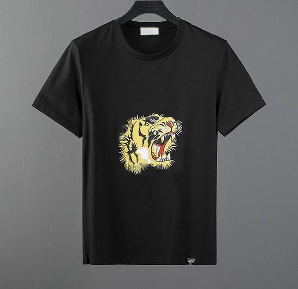 top popular High quality fashion designer short T-shirt European style men's round neck T-shirt 100% cotton short-sleeved men's clothes 2019