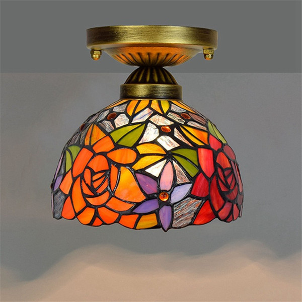 tiffany style stained glass ceiling lights 8 inch retro red rose glass ceiling light living room ceiling lampstf068