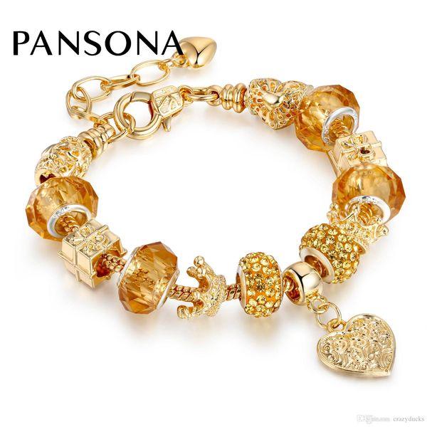 Original New Gold-color Charm Bracelets For Women Snake Chain Heart Crown Bracelets Bangles DIY Crystal Murano Glass Bead AA145