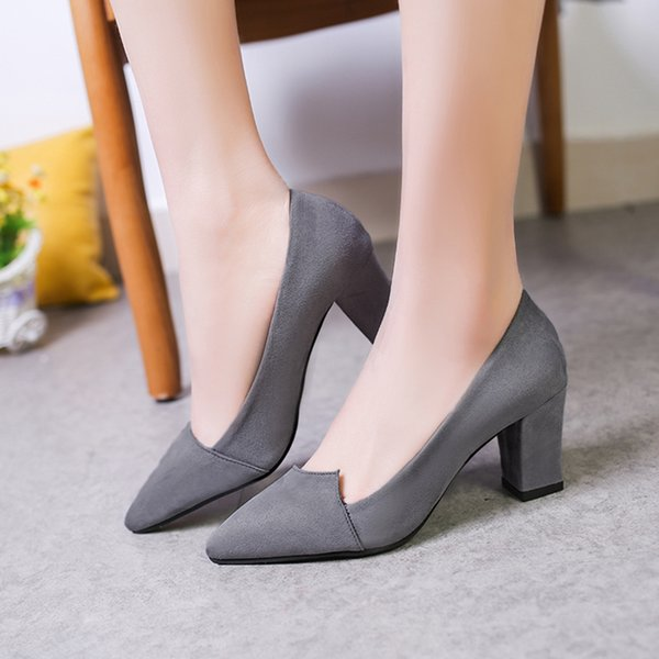 Designer Dress Shoes 2019 New Korean Women's Single High-heeled Pumps Women Red Heels Wedding Sexy Heels Woman Office Work Black Red