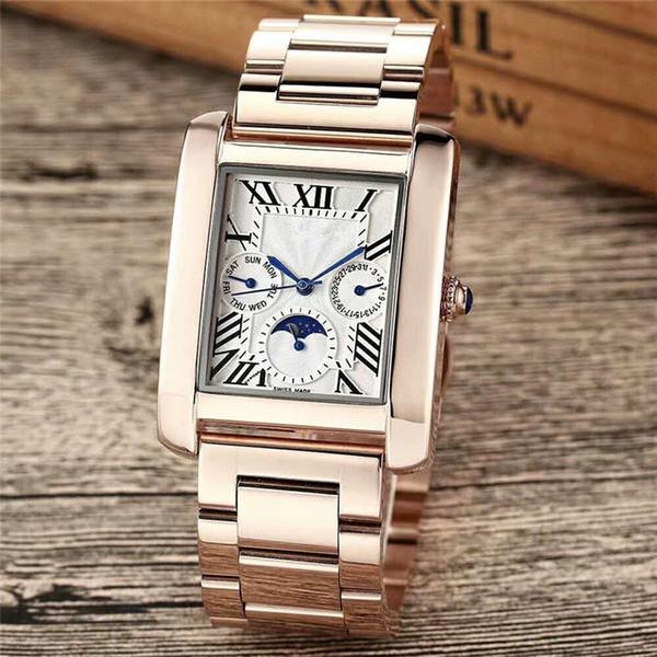 Todos Subdials Trabalho Marca Lua Sunshine Relógios De Luxo Mens Rose Gold Borboleta Relógios Designer De Diamante Relógio De Pulso De Couro Relógio De Discagem Quadrada