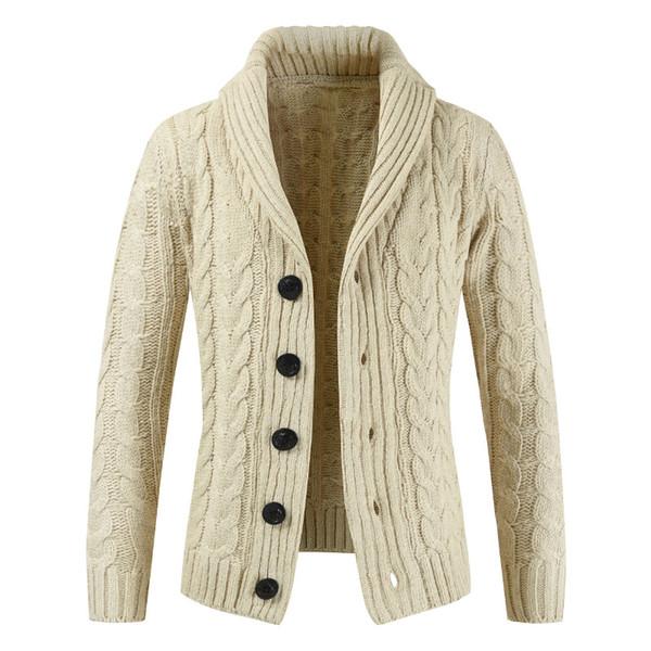 Pull printemps et d'automne 2019 nouveau chandail tricoté cardigan hommes / manteau épais de la mode casual revers simple boutonnage