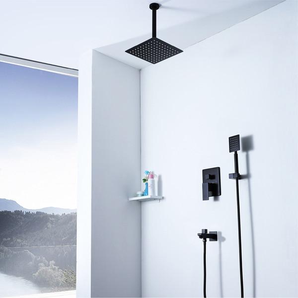 Soffione a pioggia Doccia da bagno nera Set 304 soffioni in acciaio inox da 10 pollici Soffioni doccia calda fredda con box incorporato
