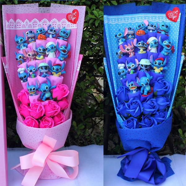 Stitch bouquet di mazzi di peluche bouquet di peluche punto kawaii valentine toys fiori artificiali peonia stich