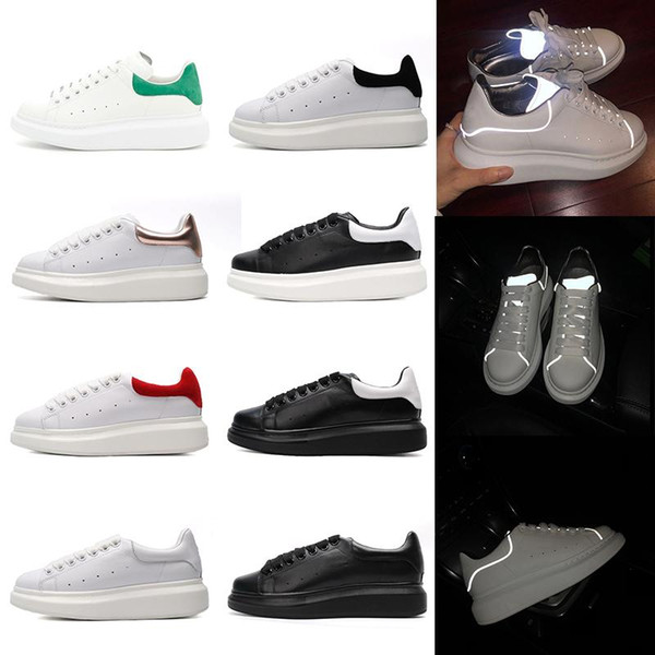 Designer 3M reflective Platform shoes red white black leather Casual shoes for girl women men gold green Flat shoes 6g
