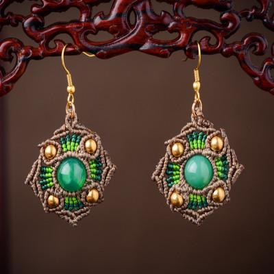 Wax thread hand-woven jewelry Chinese knotted Green Agate Earrings retro-national style earrings