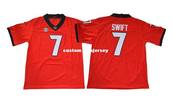 Cheap custom D'Andre Swift Jersey #7 Georgia Bulldogs Football Jersey - Red Stitched Customize any number name MEN WOMEN YOUTH XS-5XL