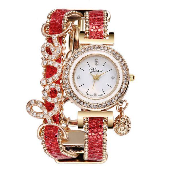 2019 mode genf frauen damen liebe diamant anhänger armband leder uhr freizeit casual dame weibliche kleid quarz party geschenk armbanduhr