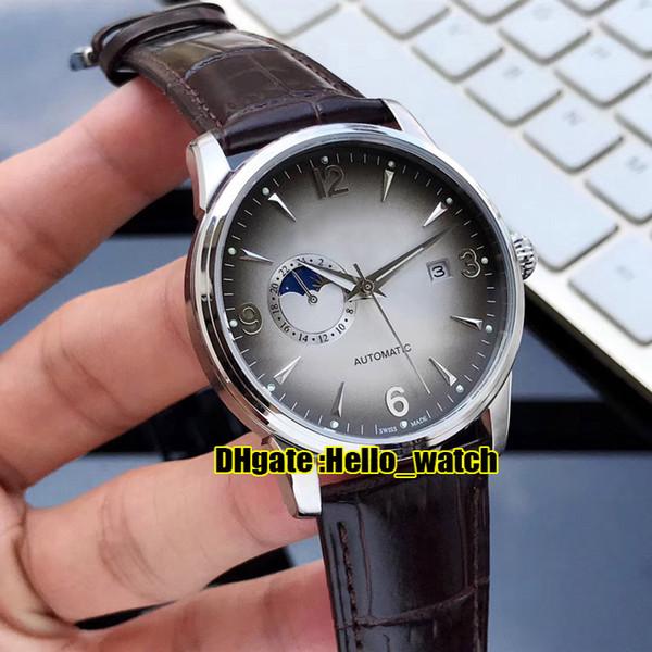 Novo Master Control Ultra Fino Japão Miyota 821A Relógio Automático para Homens D-Cinza Fase da Lua Aço Inoxidável 316L Relógios com pulseira de couro marrom Hello_watch