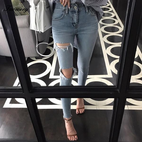 hole ripped jeans women boyfriend denim vintage high elastic waist casual pants female slim pencil pant plus size trousers