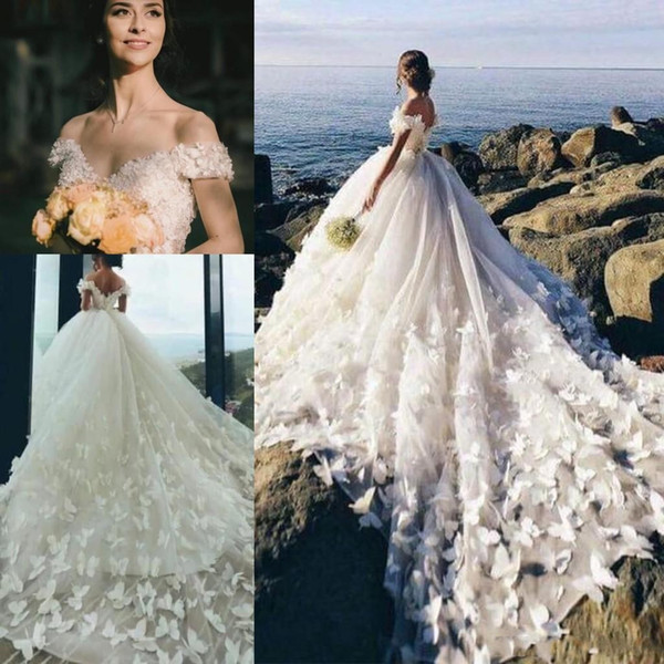 Butterfly Cathedral Train Wedding Dresses 2020 Off Shoulder 3D Floral Beaded Princess Winter Beach Garden Bride Wedding Gowns