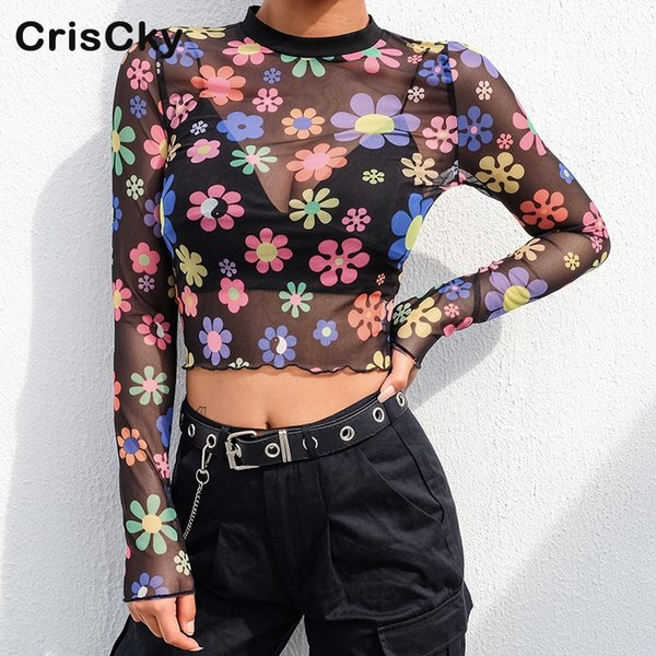 CRISCKY 2019 Summer Sexy T Shirt Women O Neck Long Sleeve Print Mesh T-Shirts Ladies Casual Full Sleeve Tshirts Women Short Tops