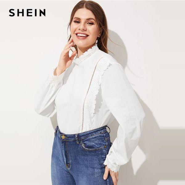 SHEIN Plus Size Encaje Blanco Ojal Bordado Blusa Ruffle Mujeres Elegantes Primavera Soporte Collar Algodón Tops Blusa