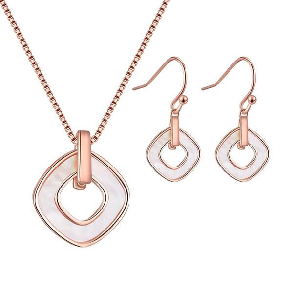 Nouveau creux losange géométrique pendentif collier crochet boucles d'oreilles ensemble de bijoux mariage nuptiale ennemi femmes