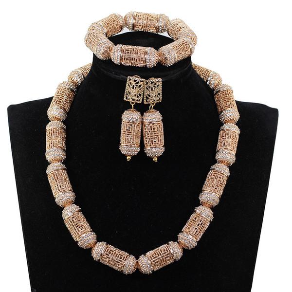 Модный Стиль Золотые Африканские Бусы Комплект Ювелирных Изделий Горный Хрусталь Ожерелье Браслет Серьги Набор для Женщин WE223