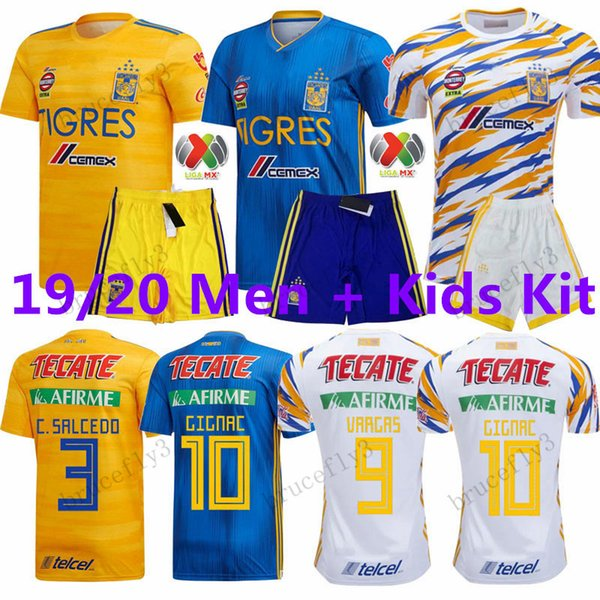 Men+ Kids Kit TIGRES 2019 2020 new 7 Stars 9 VARGAS 10 GIGNAC 20 AQUINO 8 ZELARAYAN 4 H.AYALA 3 JUNINHO 18 SOSA Thai Quality Soccer Jersey