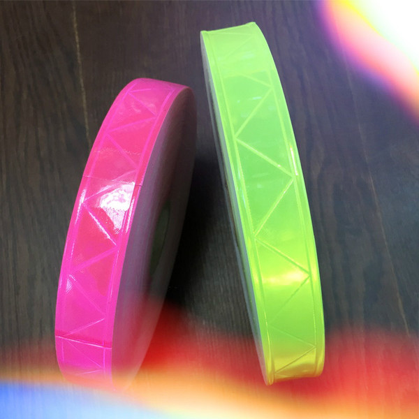 top popular 2.5CM*50M Reflective PVC Strip Fluorescent Warning Tape Night Flashing Safety Material Garment Accessories 2021