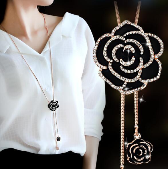 Rose fiori delicati eleganti nappe lunghe personalità alternative hipster new hip hop fata fata delicata collana di strass goccia di strass