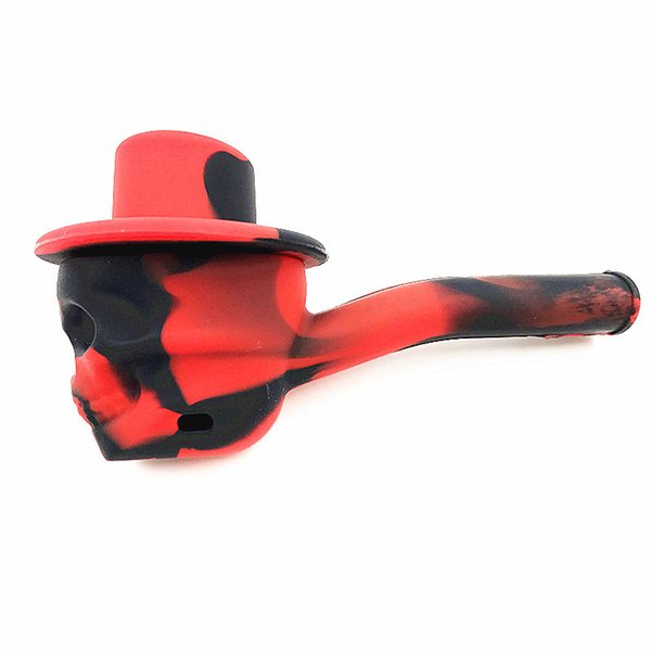 Silicone Pipe Skull Shantou Bone Shape Colorful Tobacco Hand Pipe with Lid Hand Water Pipe Easy Pocket and Travel