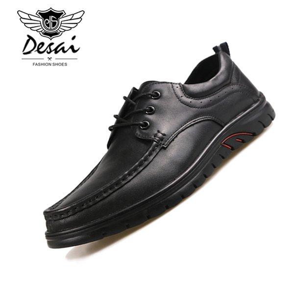 Sapatos masculinos 2019 Negócio de Couro Genuíno Sapatos Casuais Homens Dedo Do Pé Redondo Fundo Grosso com Rosto Macio Respirável Oxfords pai