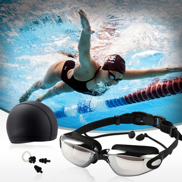 Swimming Goggles Kit Men Large Frame Lens Eyewear With Swim Hat Ear Plug Nose Women High Definition Waterproof Anti-fog Glasses