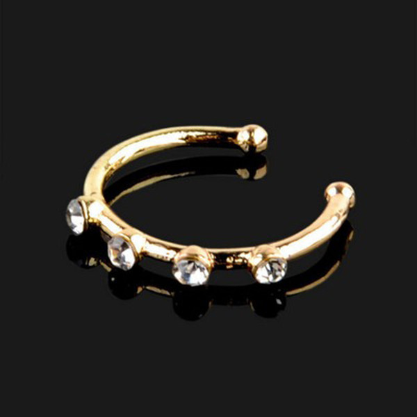 Hot Nose Ring Body Jewelry Punk Piercing Crystal Rhinestone Nose Ring Ball Hoops Piercing Bone Stud Jewelry