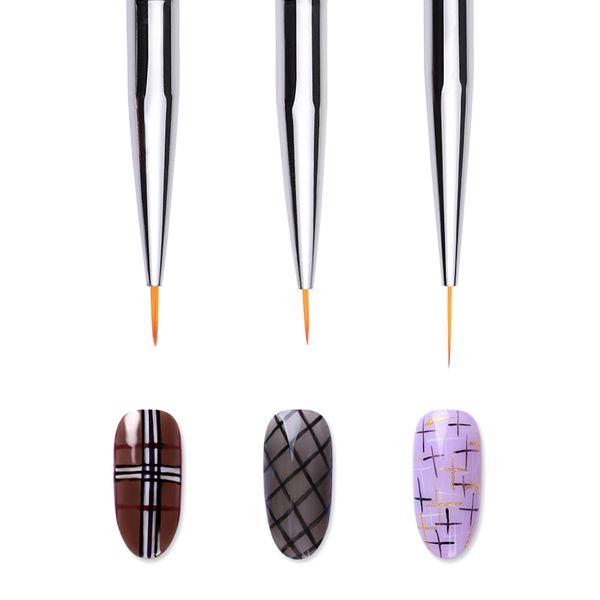3 шт./компл. ногтей лайнер рисунок кисти акриловые УФ гелевая ручка мягкие волосы серебряный блеск ручка DIY Дизайн ногтей искусство инструменты
