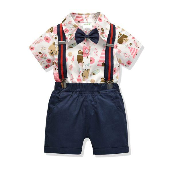 Cross-border children's clothing boy's children's clothing summer cotton bear print short-sleeved shirt shorts gentleman four pieces