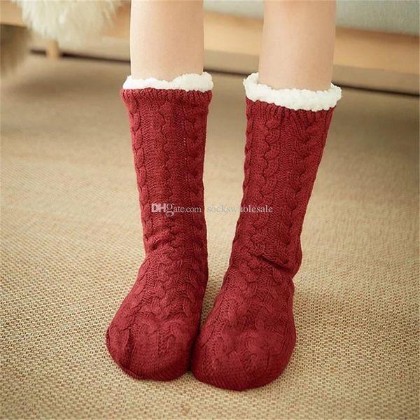 Calcetines de piso Zapatillas de casa Calcetines de piso de invierno para mujer, cálidos, borrosos, antideslizantes, forrados para Navidad Envío gratis