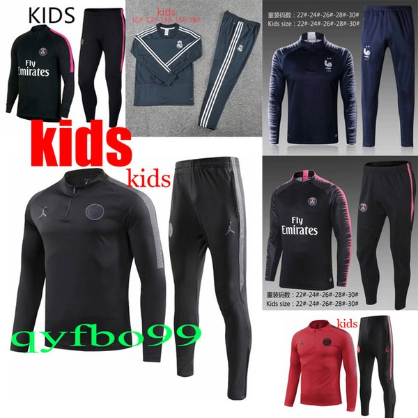 top New 2 stars mbappe 2018 2019 Real Madrid paris juventus kids tracksuit ronaldo training suit psg soccer Jogging suit Soccer Wear Sets