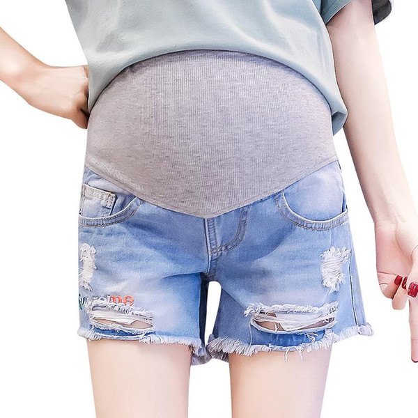 Summer Short Denim Pregnancy Jeans Extender Maternity Jeans Hole Ripped Belly Band Over For Pregnancy Mom