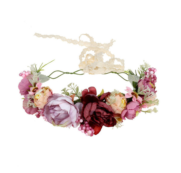 Bride flower crown bohemian style girls simulation flower wreath kids lace lace-up Bows princess hair accessories children headbands F8629