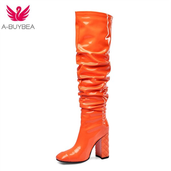 Woman Rubber Boots Square Heel Over The Knee Boots Classic Square Toe PU Leather Zip Ladies Party Dress Dance Shoes