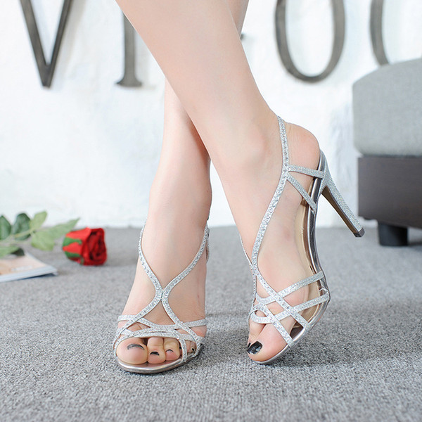 Cross Tied Rhinestone High Thin Heels Sandals Women 2018 Party Gold Silver Summer Ladies Stiletto Shoes Buckle Heel Sandals Y19070303
