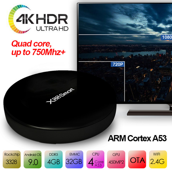 Android tv box X88 Smart tv box android9.0 haut débit 2.4g wifi 4g 32g 4k h.265 rockchip rk3328 android IPTV set box